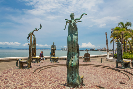 PUERTO VALLARTA, MEXICO - SEPTEMBER 6, 2015: The Roundabout of the Sea sculputers in Puerto Vallarta in Mexico. Sculpure was made by Alejandro Colunga from 1996, Stock Photo