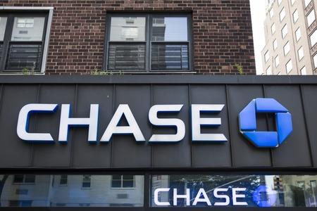 NEW YORK, Verenigde Staten - 22 augustus 2017: Chase bank in New York. Het is een nationale bank opgericht in 1799.