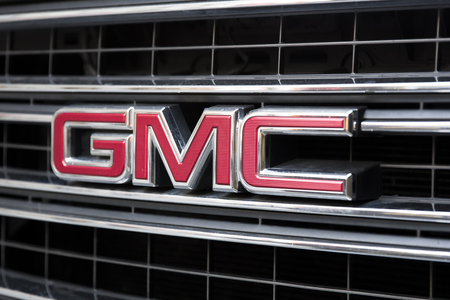 NEW YORK, USA - AUGUST 31, 2017: Detail of the GMC truck on the street of New York. GMC is a division of the  General Motors that primarily focuses on trucks and utility vehicles