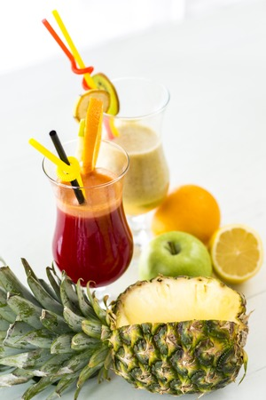 Close up view at fresh fruit juice