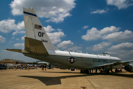 BARKSDALE, USA - APRIL 22, 2007: Boeing RC-135 Rivet Joint reconnaissance aircraft at Barksdale Air Base. Since 1933, the base has been inviting the public to view aircrafts at the annual airshow. Editorial