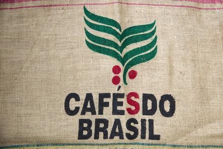베오그라드, 세르비아 - 2017-7 월 27 일 : 카페의 세부 베오그라드, 세르비아에서 브라질 가방 할. 브라질은 지난 150 년간 세계 최대의 커피 생산국이었습
