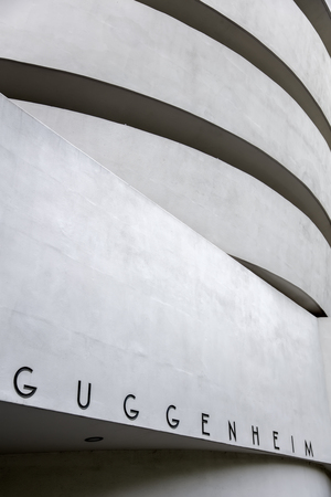 NEW YORK, USA - AUGUST 22, 2017: Detail of the Guggenheim Museum in New York. Museum was designed by Frank Lloyd Wright and building opened on October 21, 1959. Sajtókép