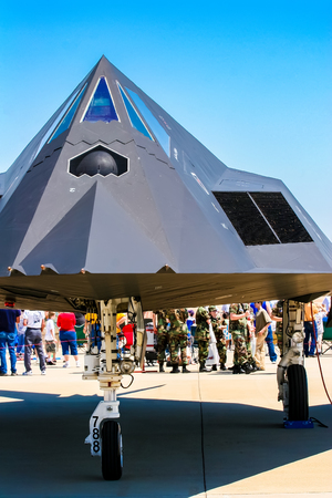 BARKSDALE, USA - APRIL 22, 2017: �ockheed F-117 Nighthawk at Barksdale Air Base. Since 1933, the base has been inviting the public to view aircrafts at the annual airshow. Editorial