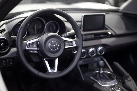 BELGRADE, SERBIA - MARCH 28, 2017: Interior of the Mazda car. Mazda was founded in 1920 in Hiroshima by Jujiro Matsuda