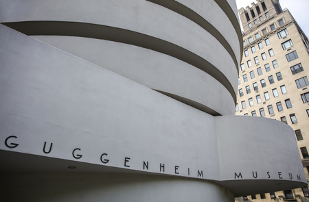 NEW YORK, USA - AUGUST 22, 2017: Detail of the Guggenheim Museum in New York. Museum was designed by Frank Lloyd Wright and building opened on October 21, 1959. 版權商用圖片 - 89297671