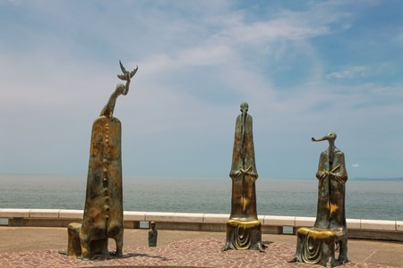 PUERTO VALLARTA, MEXICO - SEPTEMBER 6, 2015: The Roundabout of the Sea sculputers in Puerto Vallarta in Mexico. Sculpure was made by Alejandro Colunga from 1996, Stock Photo - 89297589