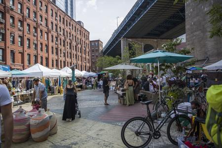 NEW YORK, USA - AUGUST 27, 2017: Unindentified people at Brooklyn Flea market in New York. Brooklyn Flea is one of New Yorks top flea markets.