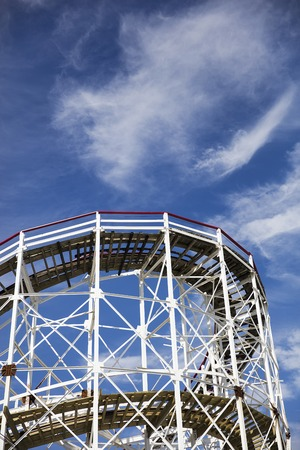 Hiistoric wooden roller coaster Cyclone on Coney island, New York Фото со стока