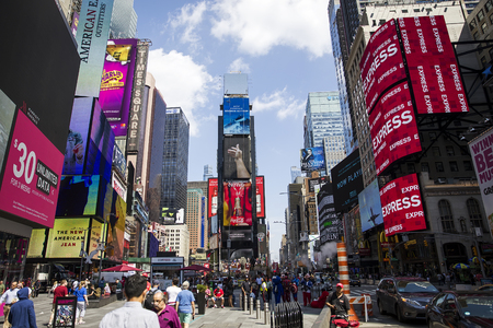 NEW YORK, USA - AUGUST 31, 2017: Unidentified people on the Times Square, New York. Times Square is the most popular tourist location in New York City.