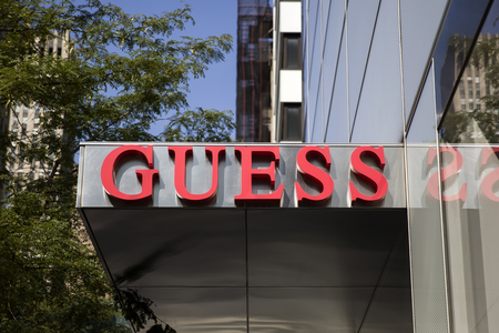 NEW YORK, USA - AUGUST 26, 2017: Detail of the Guess store in New York. Guess is  American upscale clothing line brand founded at 1981 and have more than 480 shops worldwide.