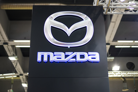 BELGRADE, SERBIA - MARCH 28, 2017: Mazda sign in Belgrade, Serbia. Mazda is Japanese multinational automaker founded at 1920.