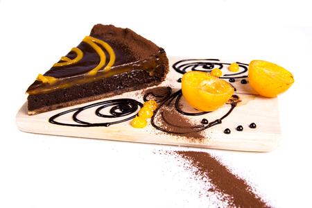 Close up view at choco tart