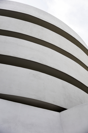 NEW YORK, USA - AUGUST 22, 2017: Detail of the Guggenheim Museum in New York. Museum was designed by Frank Lloyd Wright and building opened on October 21, 1959. Editorial
