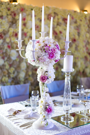 Close up view at luxurious wedding table decoration Stock Photo