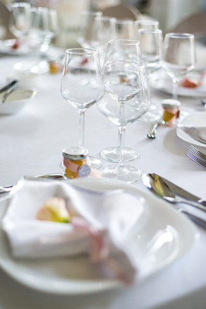 Close up view at luxurious wedding table decoration Stock fotó