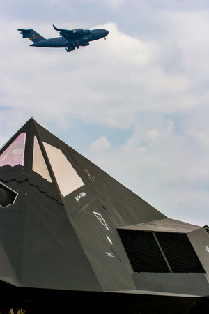 BARKSDALE, USA - APRIL 22, 2017: žockheed F-117 Nighthawk at Barksdale Air Base. Since 1933, the base has been inviting the public to view aircrafts at the annual airshow.