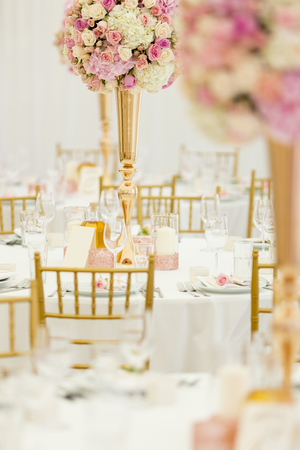 View at luxurious wedding table Banco de Imagens