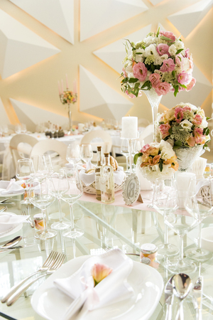 Close up view at luxurious wedding table decoration Editorial