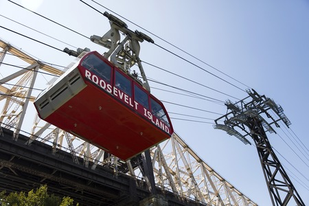 NEW YORK, USA - AUGUST 30, 2017: Detail of Roosevelt Island Tramway in New York. It  is the first commuter aerial tramway in North America, opened in 1976 Editorial