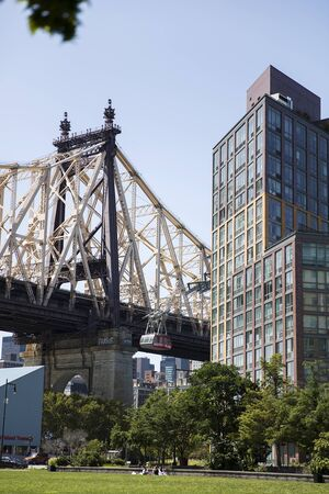 NEW YORK, USA - AUGUST 30, 2017: Detail of Queensboro Bridge in New York. Bridge was opened at 1909 and have a length of 1135m.