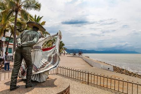 PUERTO VALLARTA, MEXICO - SEPTEMBER 6, 2015: Vallarta Dancers statue in Puerto Vallarta, Mexico. Sculpure was made by Jim Demetro at 2006