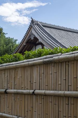 Closeup view of detail from the bamboo fence in Arashiyama, Kyoto, Japan