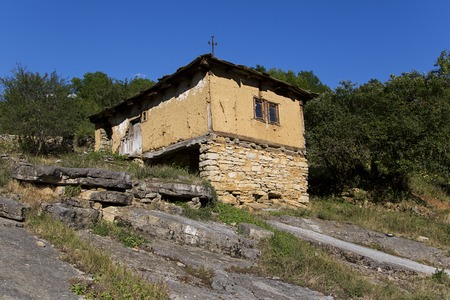 View at old ruined house in village in Serbia