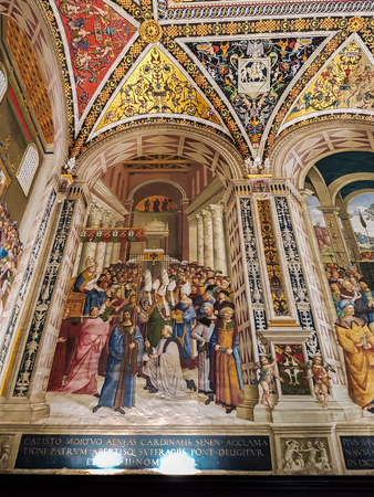 SIENA, ITALY  SEPTEMBER 21, 2016: Interior of the Siena cathedral in Italy. Siena cathedral is dedicated to the Assumption of Mary Editorial