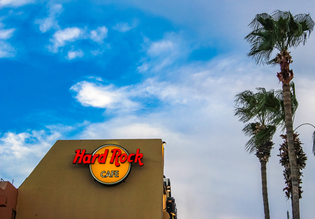 CABO SAN LUCAS, MEXICO - AUGUST 10, 2014: Detail from Hard Rock restaurant in Cabo San Lucas, Mexico. It is a chain of theme restaurants founded at 1971 in London.
