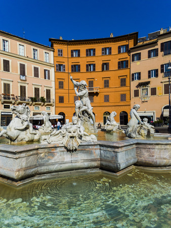 ROME, ITALY - SEPTEMBER 24, 2016: Detail of Fountain of Neptune at Piazza Navona in Rome, Italy. Piazza Navona is a popular destination in Rome, the 3rd most visited city in European Union.