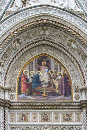 Detail of the Cattedrale di Santa Maria del Fiore in Florence, Italy Editorial
