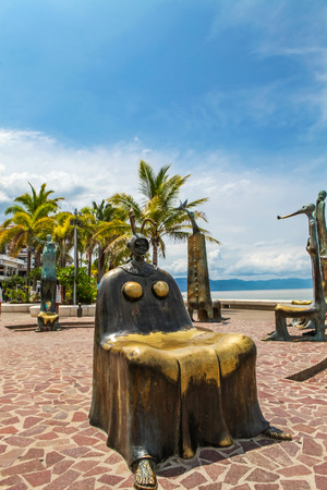 PUERTO VALLARTA, MEXICO - SEPTEMBER 6, 2015: The Roundabout of the Sea sculputers in Puerto Vallarta in Mexico. Sculpure was made by Alejandro Colunga from 1996, Publikacyjne