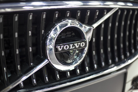 BELGRADE, SERBIA - MARCH 28, 2017: Detail of Volvo car in Belgrade, Serbia. Volvo  is a Swedish multinational manufacturing company founded at 1927. Sajtókép