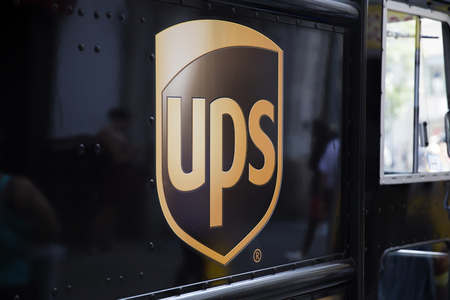 NEW YORK, USA - AUGUST 22, 2017: Detail from United Parcel Service in New York. It is an logistics company and 10th largest private employer in the United States
