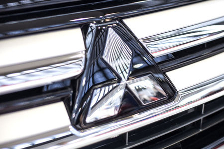 BELGRADE, SERBIA - MARCH 28, 2017: Detail of Mitsubishi car in Belgrade, Serbia. Mitsubishi Corporation is Japan largest trading company