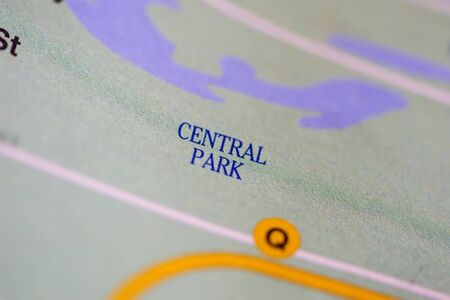 Central park, New York, United States on map 版權商用圖片