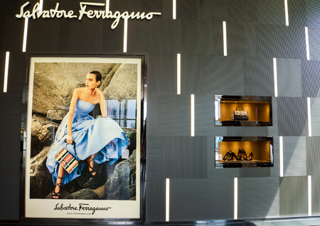 NEW YORK - MAY 2, 2013: Detail of the Salvatore Ferragamo store in New York. It is an Italian luxury goods company, with headquarters in Florence founded at 1927.