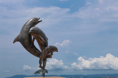 PUERTO VALLARTA, MEXICO - SEPTEMBER 6, 2015: View at The Friendship Fountain at Puerto Vallarta in Mexico. It was made by James Bottoms and Octavio Gonzalez Gutierrez at 1987