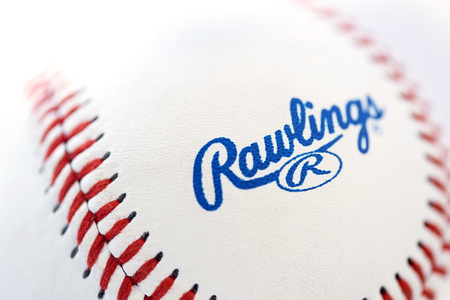 BELGRADE, SERBIA - NOVEMBER 3, 2017: Closeup view at the Rawlings baseball ball. Rawlings is a sports equipment company based in the United States founded in 1887.