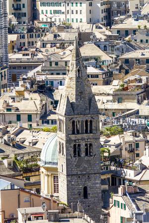 Aerial view at Basilica di Santa Maria delle Vigne in Genoa, Italy