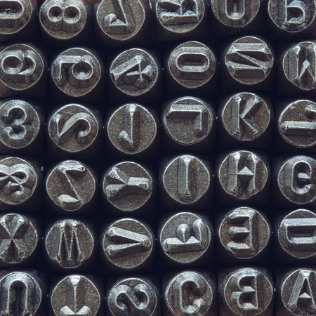 Closeup detail of the vintage typography typeset