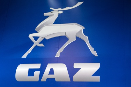 베오그라드, 세르비아 -3 월 28 일, 2017 : 베오그라드, 세르비아에서 Gaz 회사의 세부 사항. GAZ는 1932 년에 설립 된 러시아 자동차 제조업체입니다.