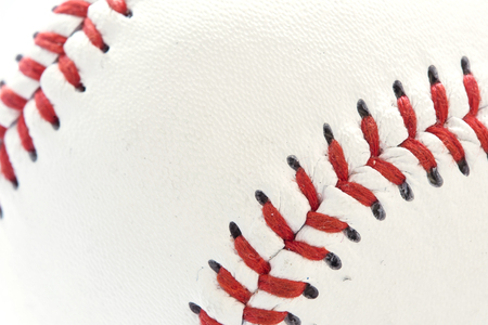 Closeup view at the single baseball ball Stock Photo