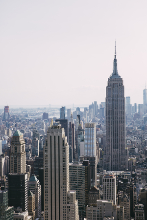 NEW YORK, USA - AUGUST 26, 2017: Panoramic view at New York City. With 256 skyscrapers, New York City ranks second in the world.