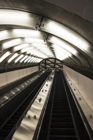 Closeup detail of the empty subway escalators