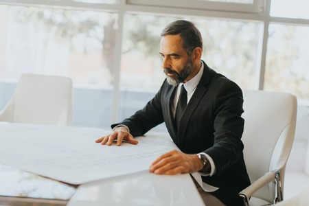 Handsome middle aged businessman looking at the plans in modern office