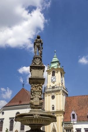 View at Roland Fountain in Bratislava, Slovakia