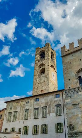 ベルガモの旧市街タワーで見る, イタリア