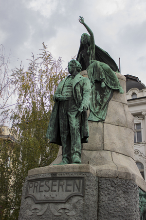 View at national poem France Presern monument in Ljubljana, Slovenia. Monument was made by Ivan Zajec at 1905.
